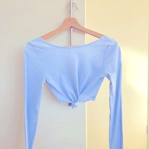 GLASSONS Ribbed Tie-knot Crop Long-Sleeve